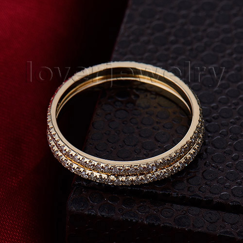 Vintage Solid 14Kt Yellow Gold Natural Diamond Two Engagement Wedding Band Ring R0014(China (Mainland))