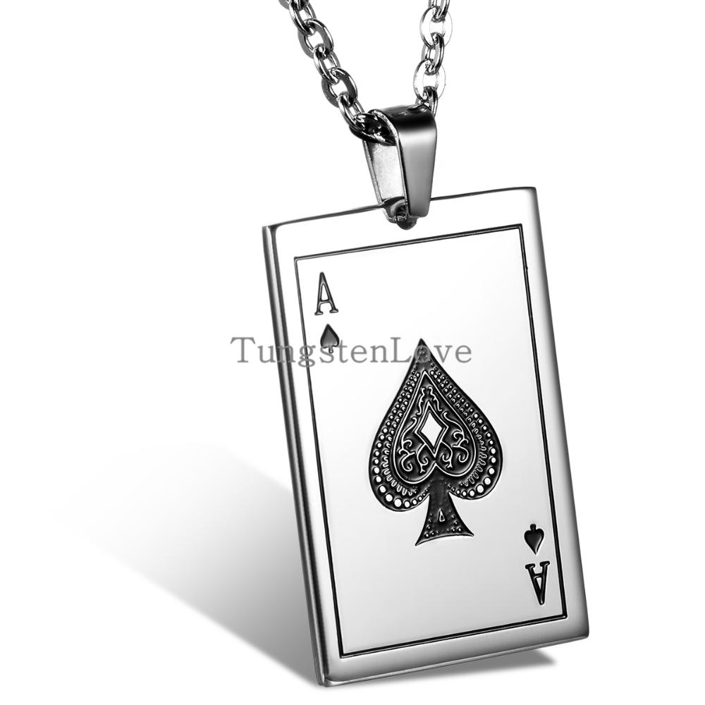 2015 New Fashion Jewelry for Mens Playing Cards Spades A Pendant 316L Stainless Steel Men's Necklace 55cm Chain(China (Mainland))