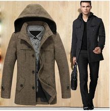 2015 Long Single Breasted Wool Coat Men Winter Wool Coat Thick Warm Cashmere Coat Plus Size Casual  Woolen Overcoat 5XL D2223(China (Mainland))
