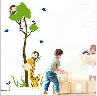Three generations of cartoon doll height stickers monkey child height ruler child real wall stickers