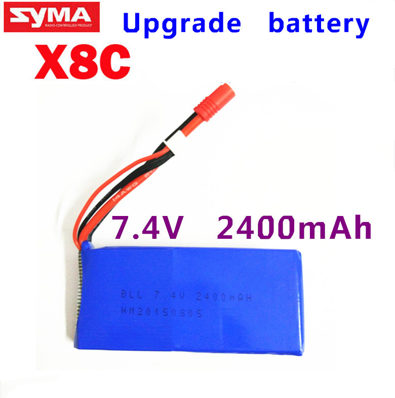 Wholesale rc helicopter parts Upgrade Syma X8 X8C X8W Spare Part 7.4V 2400Mah 25C Battery(China (Mainland))