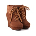 winter women platform wedges chaussure femme ankle boots nubuck leather Round Toe boots high heels lace