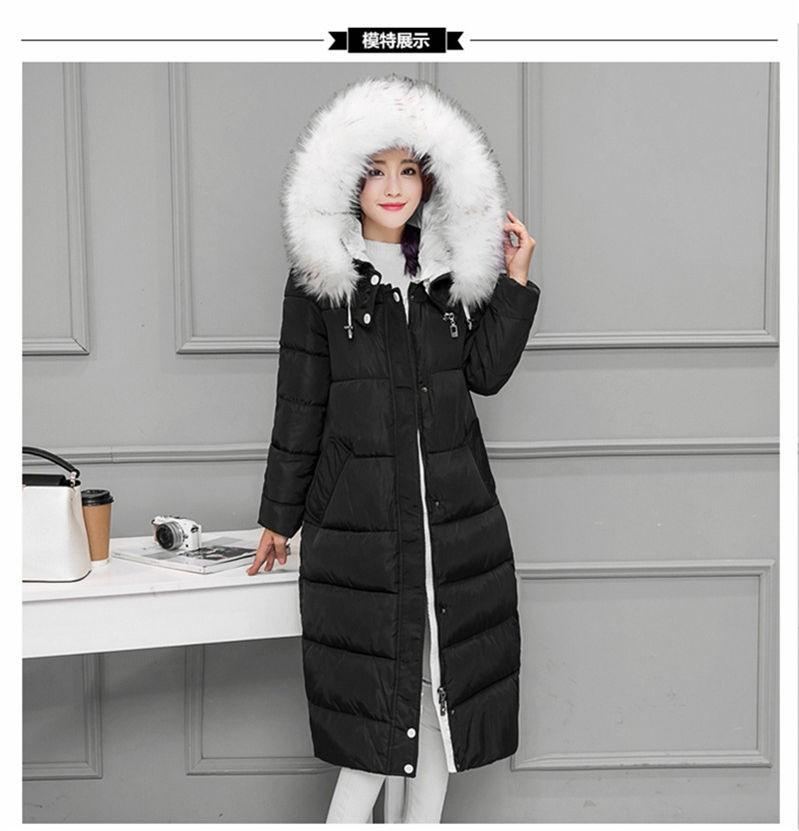 2016New Women Winter Long Jacket Coat Korean Thick FurCollar Hooded Down Parkas Ladies Plus Size Slim Warm Cotton Overcoat Black