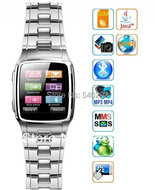 """1.54"""" Stainless Cell Phone Watch Facebook/Twitter Bluetooth Wrist Watch Phone(China (Mainland))"""