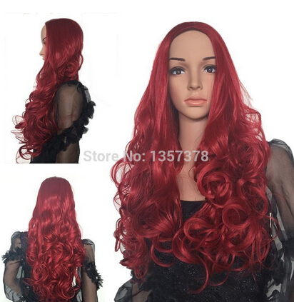 YJ 714 WWW 000200 Free Shipping>>Dark Red 3/4 Full Head Half Head Wig Clip In On Hair US Hot Wild cosplay(China (Mainland))