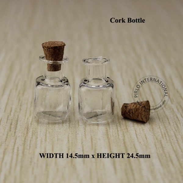 20pcs/lot High Quality 1-2ml Mini Glass Cork Bottle Glass Sample Vial, Square Display Containers, Free shipping(China (Mainland))