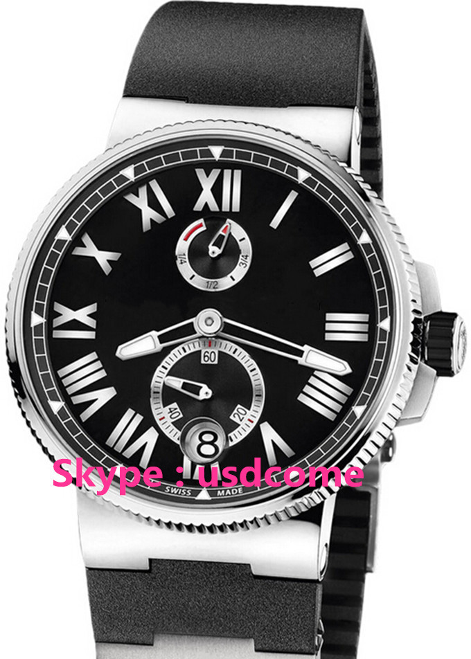 Hot Sale Luxury Marine Chronometer Automatic Black Dial Black Rubber Men's 43mm Watch 1183-126-3/42 Free Shipping(China (Mainland))