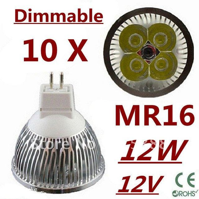 10pcs Dimmable LED High power MR16 4x3W 12W led Light led Lamp led Downlight led bulb spotlight Free shipping