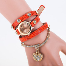 New Korean Fashion Girls Bracelet Watch Diamond Love Heart Retro Leather Wrist Watch Women Metal Bracelet
