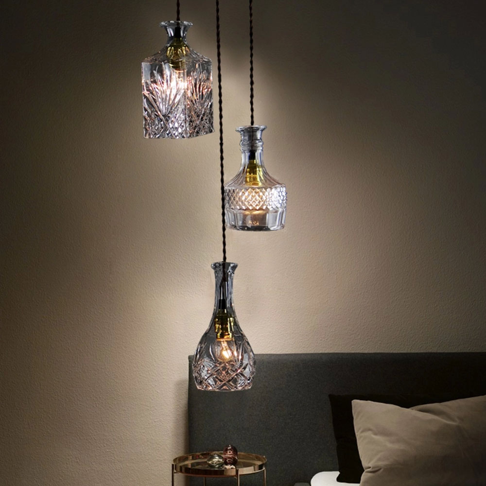 Bottle Pendant Lights Celling Lights Glass Wine Bottle Pendant Lamp ...