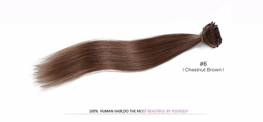 Brazilian clip ins Remy Virgin Brazilian Clip In Human Hair Extension straight 16-28″ 100-200g Clip In Natural Human Hair