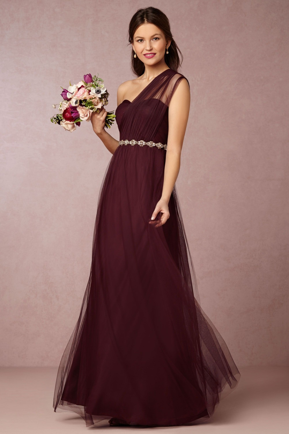 2015 custom made romantic one shoulder crepe bridesmaid for Maid of honor wedding dresses