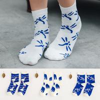 Women's socks paragraph blue and white cotton socks Korea cute blue elephant Ms. Swan dragonfly cotton socks