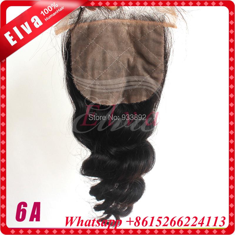 6A Brazilian Loose Wave Silk base Closure,Free/3 Part Cheap Silk Base Closure Brazilian Hair,4x4 Hidden Knots Silk Lace Closure<br><br>Aliexpress