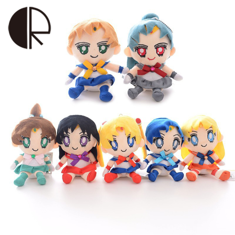7 Pcs/Set 15CM Anime Sailor Moon Action Figures Dolls Q Style Embroidery PP Cotton Stuffed Plush Toys For Girls Gift Kid Toys(China (Mainland))