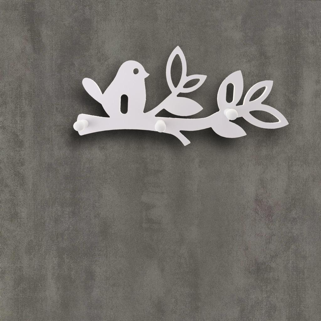 Carved Birds Design Wall Hanging 3-hook Coat Hooks Keys Hook Towel Rack Hanger Decor Shelf