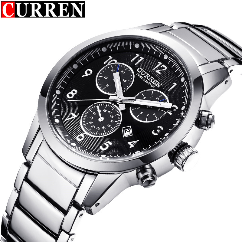 Original Curren Watches Men Brand Fashion Casual Sport Watch Male Silver Steel Strap Auto Date Analog Display Men's Quartz - Wemwatch Store store