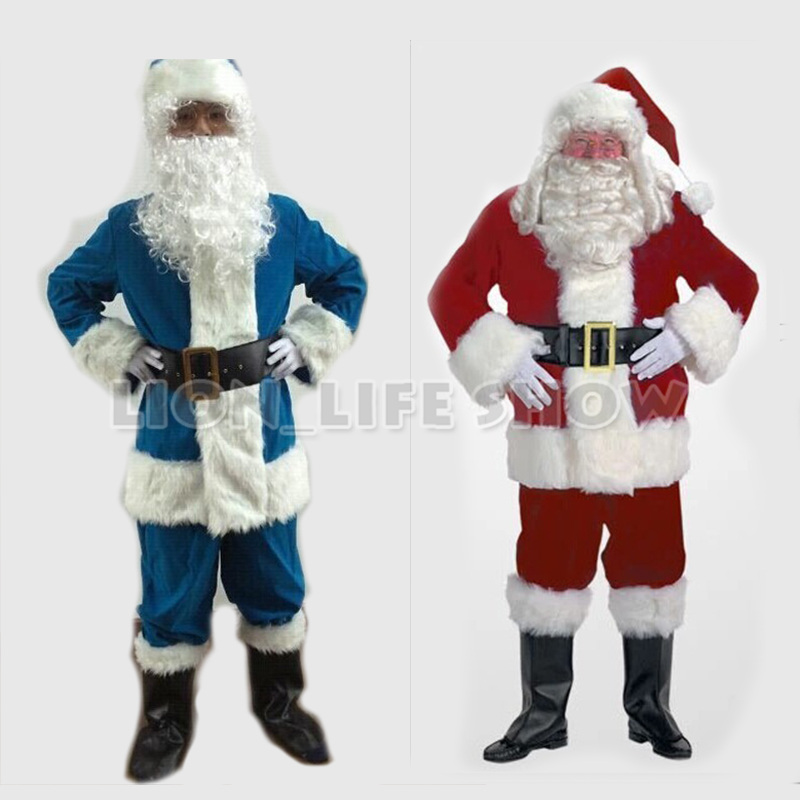 Cheap Red Blue Christmas Costumes Santa Claus For Adults 4 size 9 pieces/set(China (Mainland))