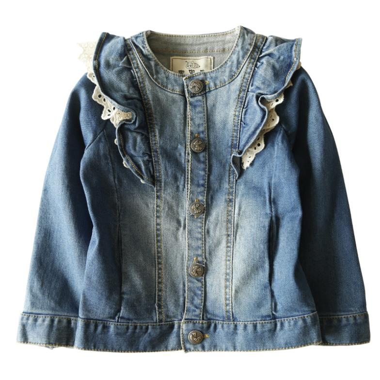 Outwear Female Bb Wear Long-sleeved Baby Girls Denim Jeans Jacket Cardigan O Neck Coat Girl - free city store