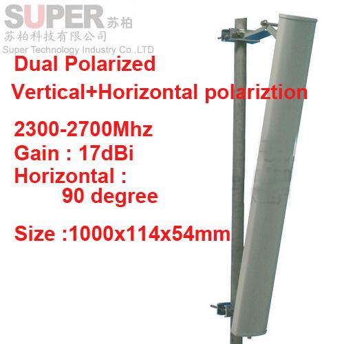 17dbi Vertical+Horizontal polariztion 90deg 2.3-2.7G mobile phone antenna 2.4G wifi antenna Base station use FDD 4G TDD antenna(China (Mainland))