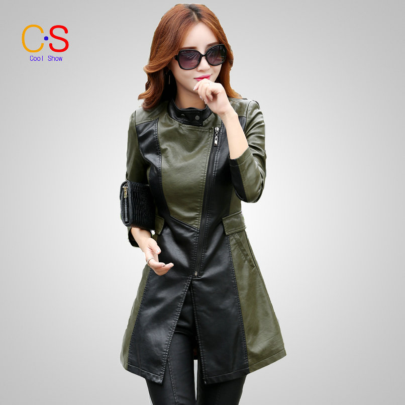 Fashion Women Patchwork Leather font b Jacket b font Mid length Lady Faux Leather font b