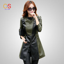 Fashion Women Patchwork Leather Jacket Mid-length Lady Faux Leather Coat WithStand Collar Autumn Winter Outerwears KL6608