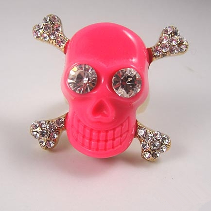 Free shipping~~DIY rhinestone pink skeletons ring for Valentine's day gift