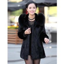 New 2015 Luxury faux Rabbit fur coat Women winter coat Fashion Hooded FoxFur Collar Medium-long lady Overcoat Elegant coat.RU006(China (Mainland))