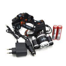 RJ-3000 5000 lumens headlamp +2*18650 4200 mah battery +Charger + Car chargr CREE XM-L XML T6 LED Headlight Light Head lamp