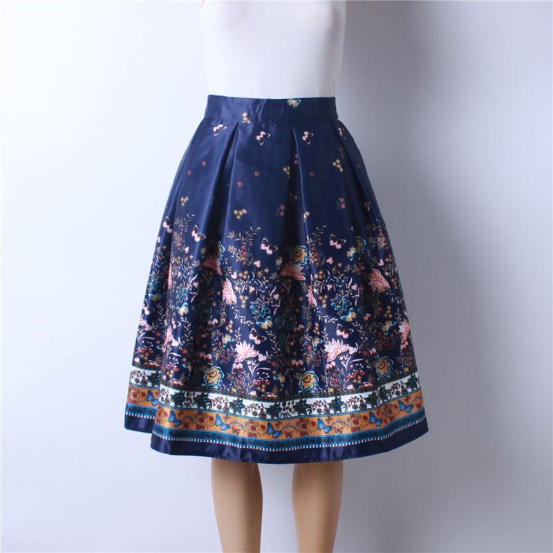 HTB1mpOUMpXXXXbGXXXXq6xXFXXXU - GOKIC 2017 Summer Women Vintage Retro Satin Floral Pleated Skirts Audrey Hepburn Style High Waist A-Line tutu Midi Skirt