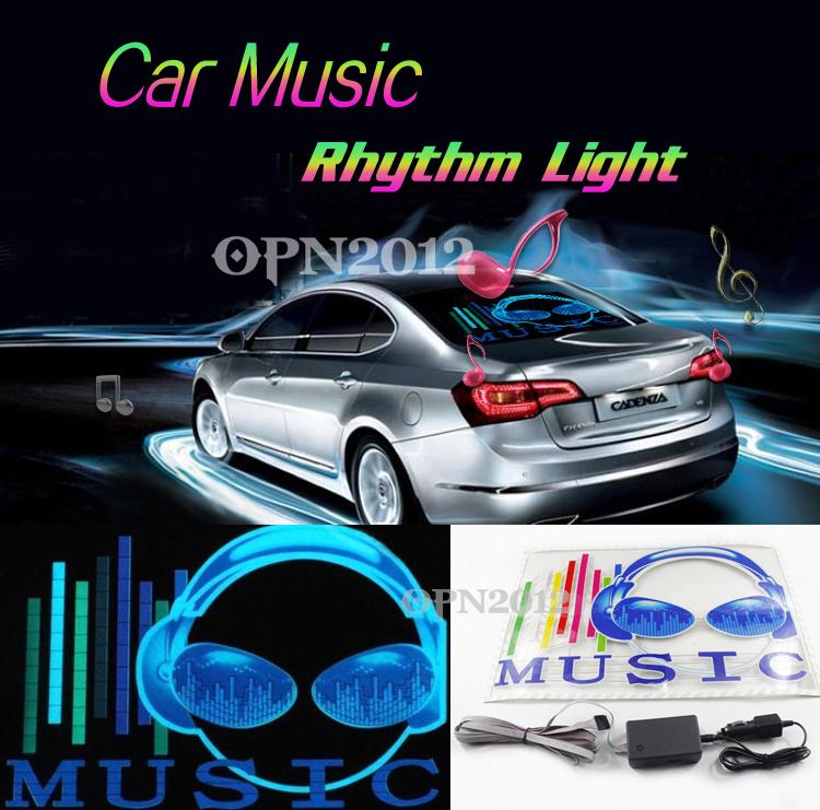 45x30cm Car Sticker LED EL Sound Activated Equalizer Glow Flash Panel Multi Colour Light Music Rhythm LED Flash Light Lamp 2295(China (Mainland))