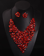Europe and the United States luxury jewelry flowers Necklace Earrings Set dress woman  0377(China (Mainland))