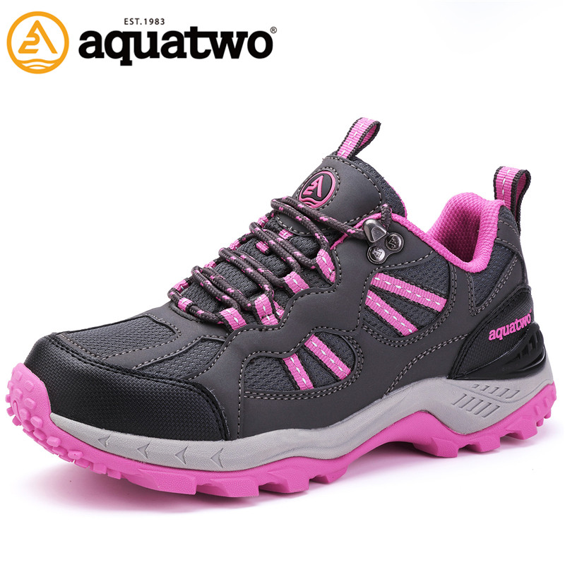 Фотография 2016 New Women Outdoor Trekking Shoes Autumn Winter Brand Lace Up Blue Pink Purple Shoes for Women US4-8# Women