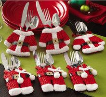 Дешевые продвижение! 2015 рождественские украшения из серебра держатель карманный ручной прекрасный рождественский одежды брюки в форме комплект приборов