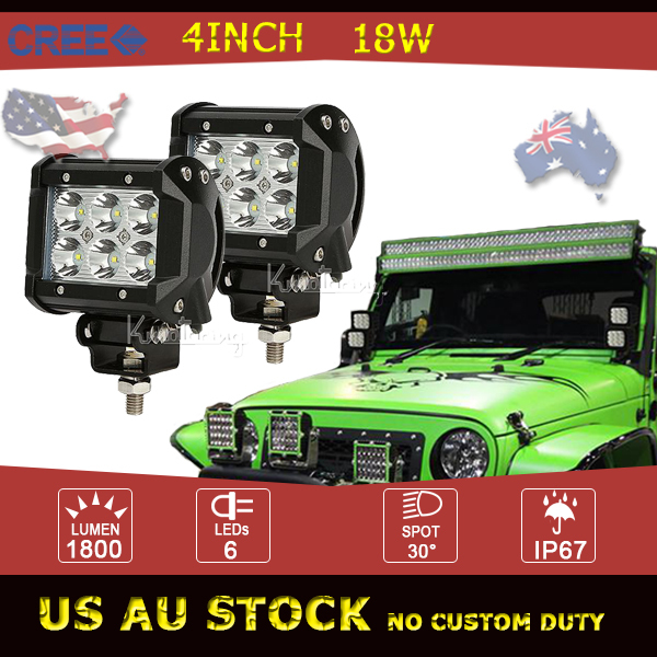2X 18W 4Inch CREE LED Work Light Offroad Spot Beam Driving Light For Car Auto Motorcycle Boat 4WD 4X4 ATV SUV Truck Trailer Lamp(China (Mainland))