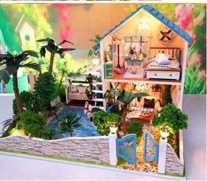 Creative Valentine's Day GIFT 2 floors dream Garden house DIY Miniature Model Kit with dustproof Wooden Doll House, Big Size(China (Mainland))
