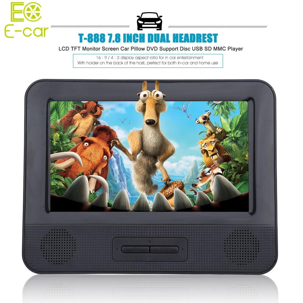 Hot Sale Car DVD 7.8 Inch Car Pillow DVD Player Dual Headrest Full HD TFT Screen Support Disc USB SD Car Multimedia Player(China (Mainland))
