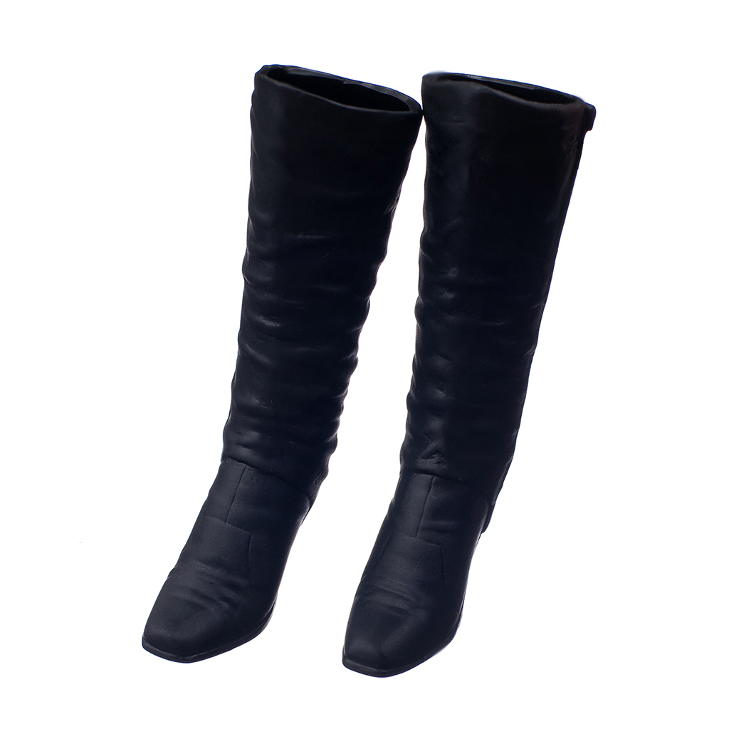 Black 1/6 Scale Long Boots Shoes For 12 inch Female Action Figures