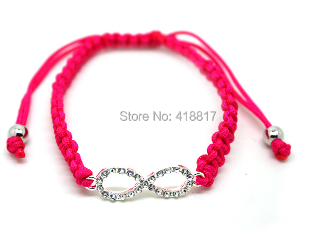 2014 New cheap handmade crystal infinity bracelet rope  chain friendship bracelet Shambhala jewelry