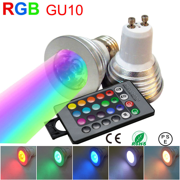 3W 4W 5W spotlight RGB lamp GU10 led dimmable light spot bulb bombilla foco lampara faretto lampadine lampe ampoule 110V 220V(China (Mainland))