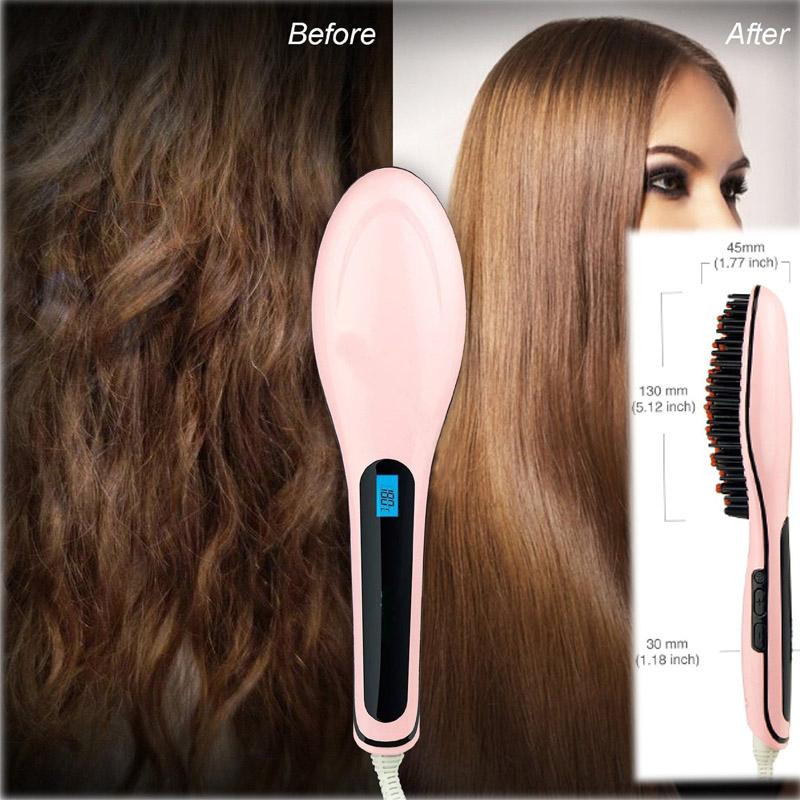 2016 Brand Straightening irons Smoothing hair Brush Electric LCD Display Magic Straightener professional comb Hair Styling Tools(China (Mainland))