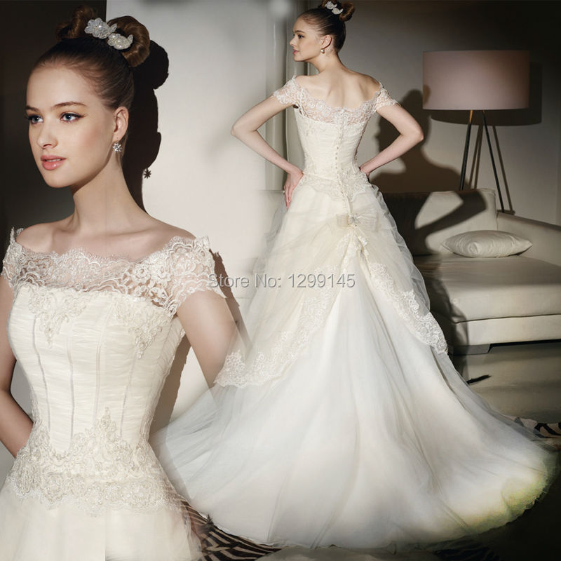 2014 New Fashion Hot Selling sweet Lace A-Line Cap Sleeve White Ivory Wedding Bridal Dress Free tailor custom shipping - fashion store
