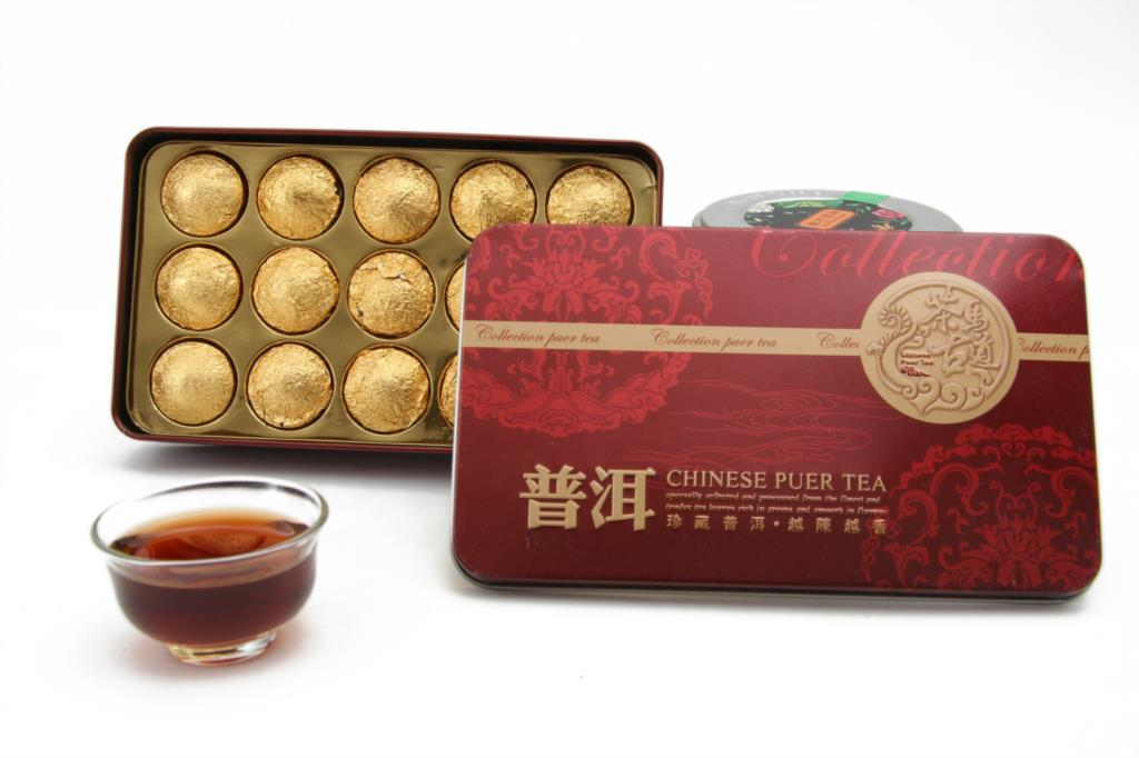 Chinese YunNan Natural Puer Tea with 15pcs In Gift Cotton Bag Above 12 Month Pure Flavor FDA Standard