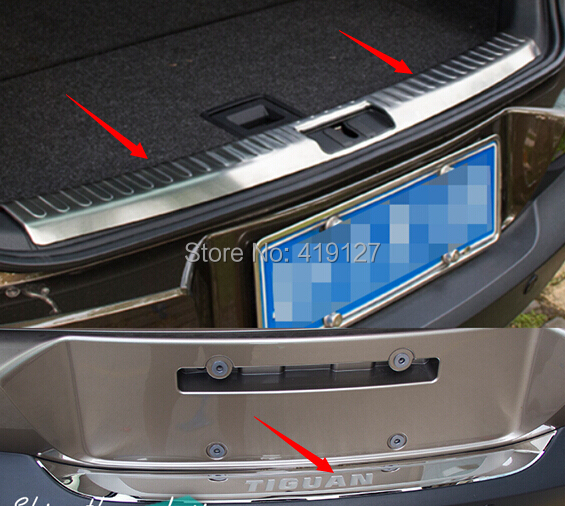 High Quality ! For Volkswagen vw Tiguan 2010-2015 Stainless Steel Inner exterior Rear Bumper Protector Sill Trunk Trim(China (Mainland))
