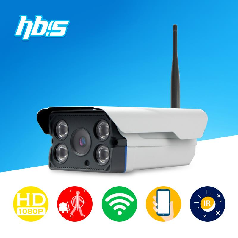 Фотография HBSS 2mp wifi ip camera 1920*1080P 802.11 b/g/n outdoor 4 pcs IR LED array night vision waterproof Onvif  Surveillance Cameras