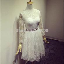 DHL Free Shipping Robe Mariage 2016 Long Sleeve Lace Appliques A Line Wedding Dresse Vestido De Novia FM03
