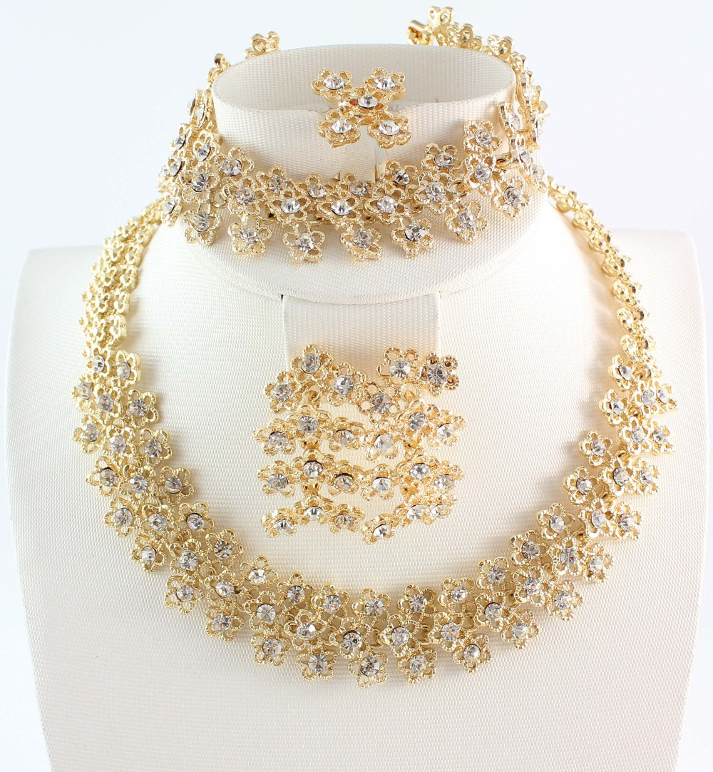 Free Shipping New Fashion 4Pcs Jewelry Set Costume Jewelry Set Gold Plated Clear Crystal Jewelry Set<br><br>Aliexpress