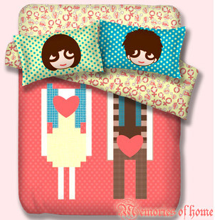 free shipping 100% cotton four piece set love lovers sexy bedding