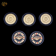 Colorful Gold Plated Poker Coin Card Guard Fashion Style LAS VEGAS Token Plastic Case Gifts - World CoinBanknote Store store
