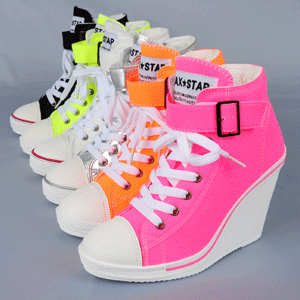 2013 new arrival fluorescence neon color wedges sneakers